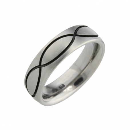 Titanium black grooved Wedding Ring