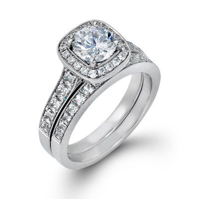 9ct White Gold Engagement and Wedding Ring Set