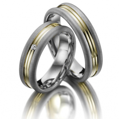 Two-colour 9ct White and Yellow gold Wedding Ring