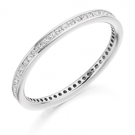 14ct White Gold Full Set Princess Cut Diamond Wedding Ring