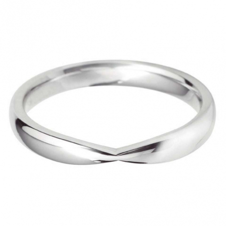 14ct White Gold Pinched In Style Wedding Ring