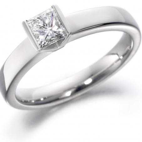 14ct White Gold Princess Cut Diamond Engagement Ring