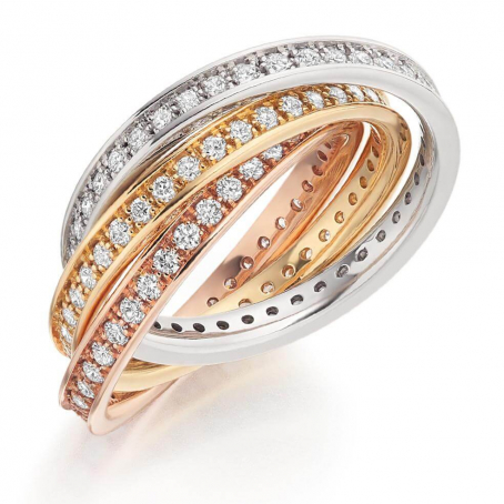14ct Yellow, White and Rose Gold Diamond Russian Ring