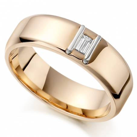 9ct Rose and White Gold Bar Baguette Cut Wedding Ring