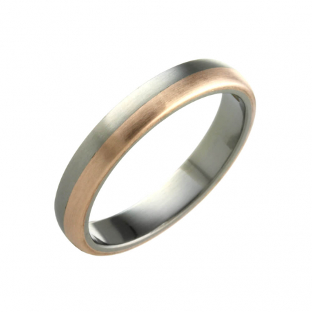 Titanium and Rose Gold Wedding Ring