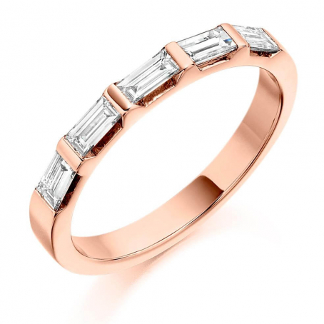 18ct Rose Gold Baguette Cut Diamond Wedding Ring