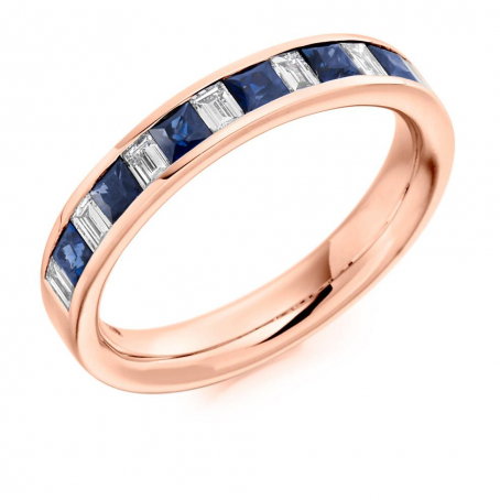 18ct Rose Gold Baguette Diamond and Princess Sapphire Wedding Ring