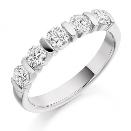 18ct White Gold Bar Set Round Diamond Half Eternity Ring