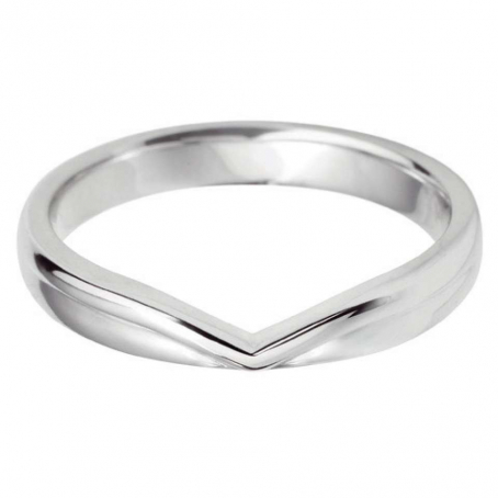 18ct White Gold Cut Out V Shaped Wedding Ring