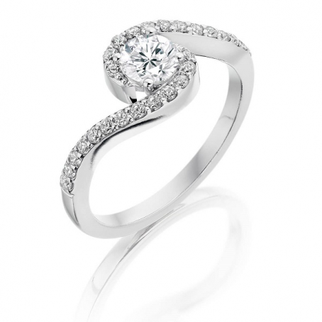18ct White Gold Diamond Cross Over Engagement Ring