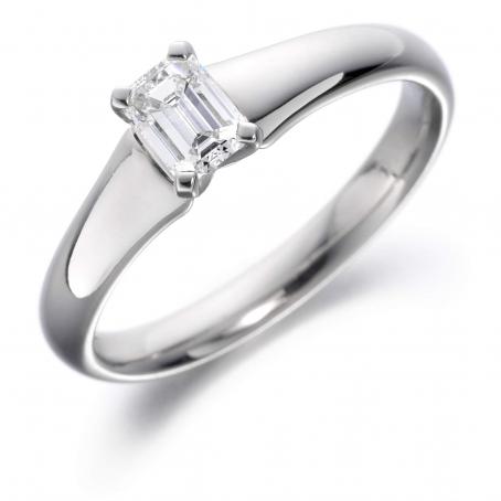 18ct White Gold Emerald Cut Diamond Engagement Ring