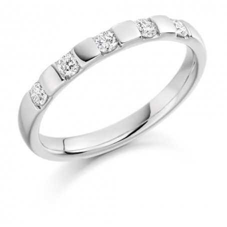 18ct White Gold Five Stone Diamond Wedding Ring