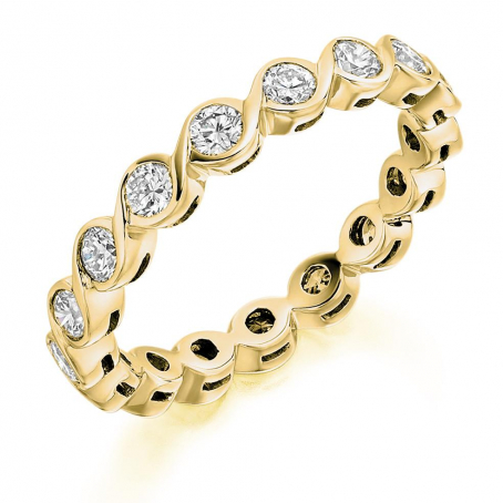 18ct Yellow Gold Brilliant Cut Twist Style Wedding Ring