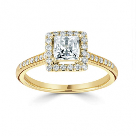 18ct Yellow Gold Diamond Princess Cut Halo Engagement Ring