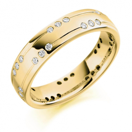 18ct Yellow Gold Diamond Set Wedding Ring