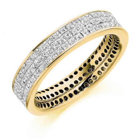 18ct Yellow Gold Mosaic Set Princess Cut Eternity Ring