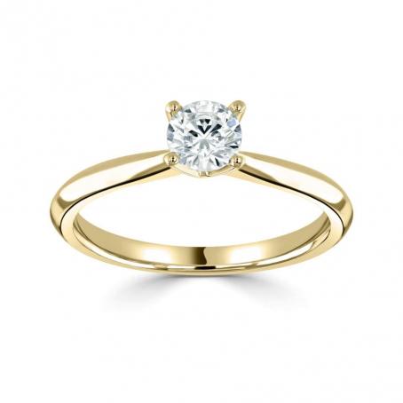 18ct Yellow Gold Single Stone Round Diamond Engagement Ring