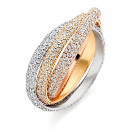 18ct Yellow, White and Rose Gold Diamond Russian Ring