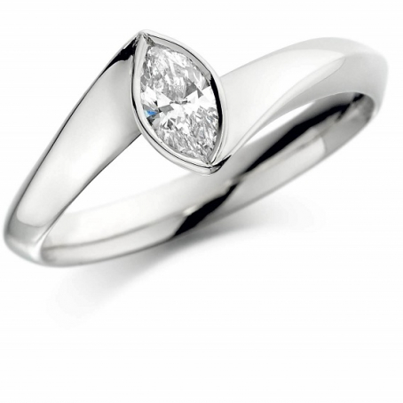 18K White Gold Marquise Shaped Diamond Engagement Ring