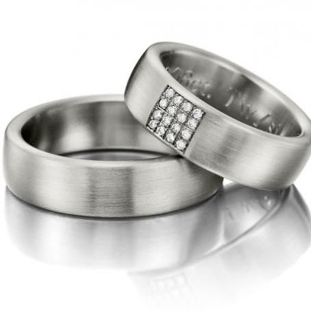 Palladium Matt Finish Wedding Ring Set