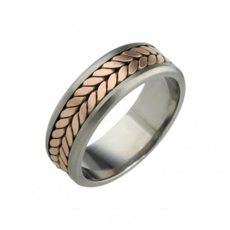 Titanium and Rose Gold Wedding Ring