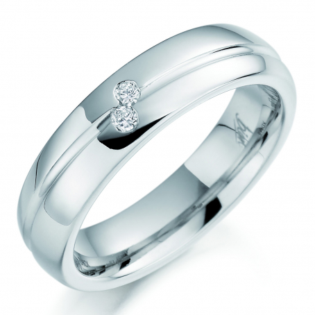 Palladium Two Stone Diamond Wedding Ring