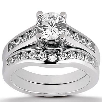 Palladium Diamond Engagement and Wedding Ring Set