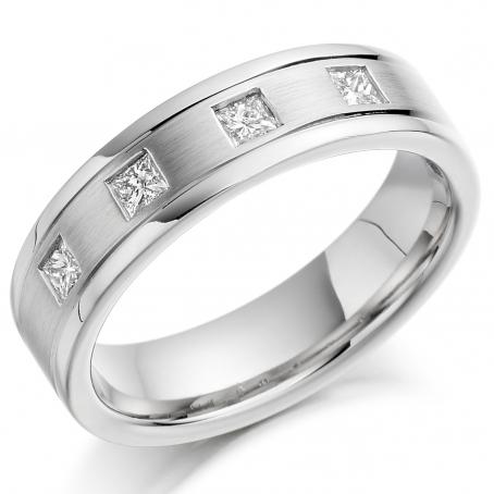 Platinum Four Stone Princess Cut Wedding Ring