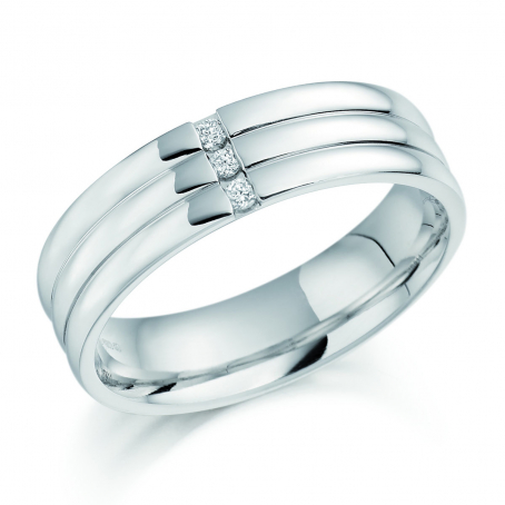 Mens Platinum 3 Stone Channel Rolled Wedding Ring