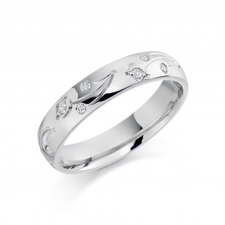 Palladium Diamond set Engraved Wedding Ring