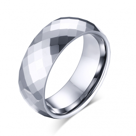 Mens Tungsten Patterned Wedding Ring