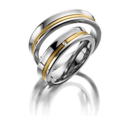 Two-Colour 18ct White and Yellow Matching Wedding Ring Set