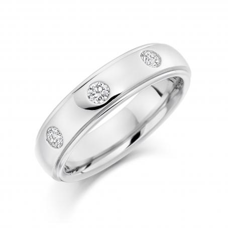 Palladium Three Stone Rolled Edge Wedding Ring
