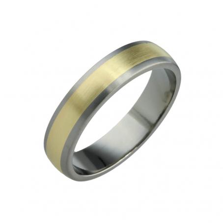 Titanium and Yellow Gold Wedding Ring