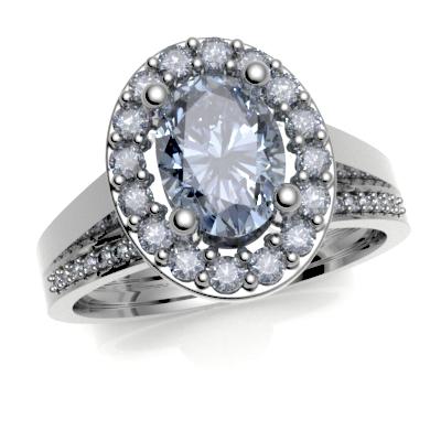 9ct White Gold matching Diamond Pave set Wedding Ring