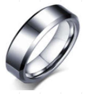 Tungsten Patterned Bevel Edge Wedding Ring