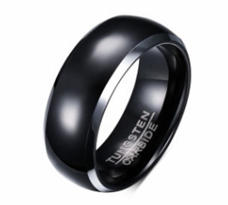 Black Mens Wedding Ring in Tungsten