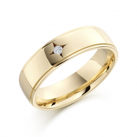 9ct Yellow Gold Star Set Diamond Wedding Ring