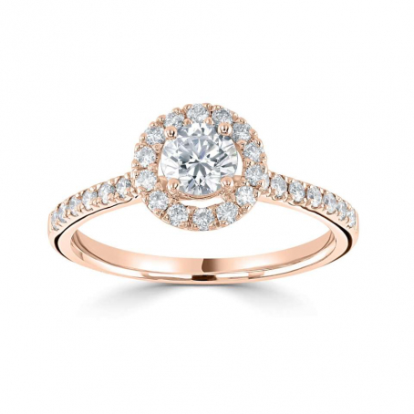 9ct Rose Gold Round Diamond Halo Style Engagement Ring