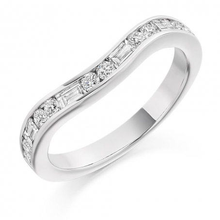 9ct White Gold Baguette and Brilliant Cut Curved Wedding Ring