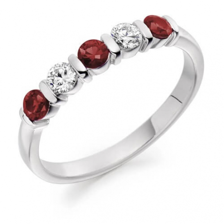 9ct White Gold Diamond and Ruby Ring