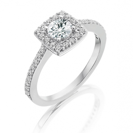 9ct White Gold Diamond Halo Cluster Engagement Ring