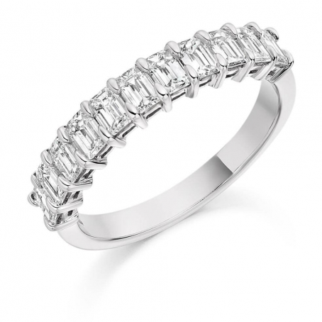 9ct White Gold Emerald Cut Diamond Half Eternity Ring
