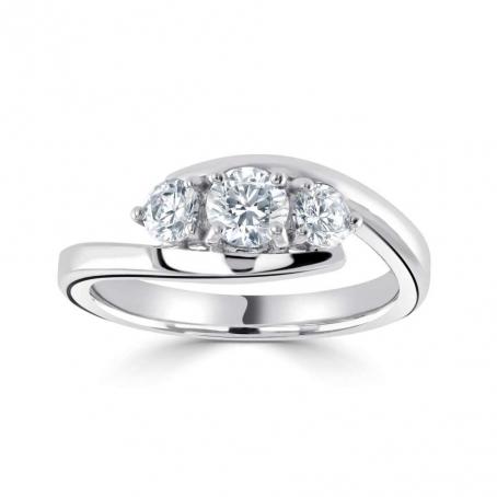 9ct White Gold Three Stone Round Diamond Engagement Ring