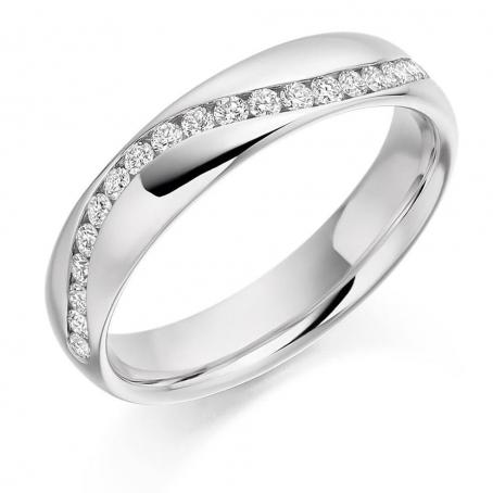 9ct White Gold Wavy Diamond Wedding Ring