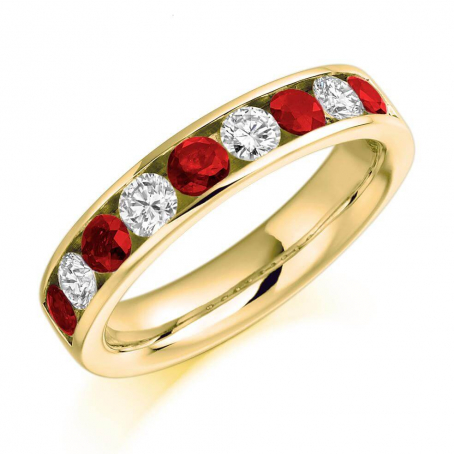 9ct Yellow Gold Brilliant Cut Diamond and Ruby Eternity Ring