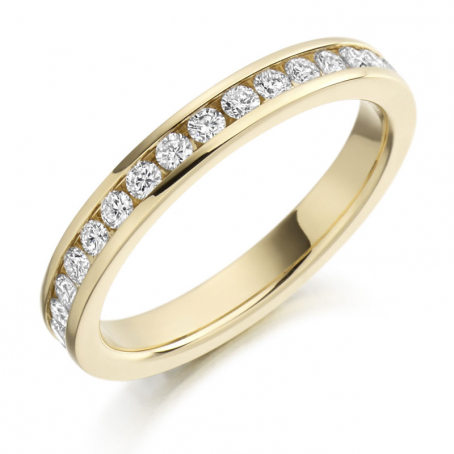 9ct Yellow Gold Channel Set Fully Set Wedding Ring