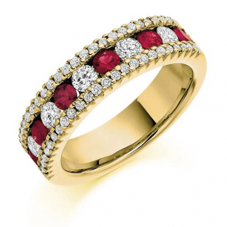 9ct Yellow Gold Ruby and Diamond Wedding Ring