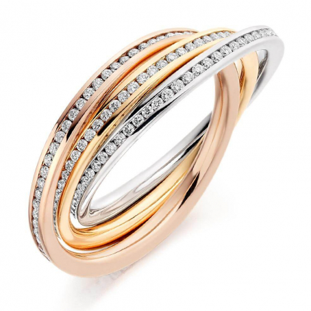 9ct Yellow, White and Rose Gold Diamond Russian Ring