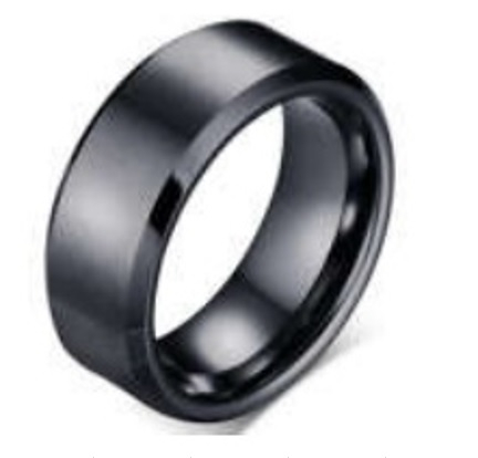 Black Polished 6mm wide Tungsten Wedding Ring